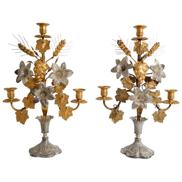 Antique Decorative Candlestick Holders with Flowers, Leafs and Wheat, 1890s