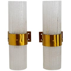 Italian Murano Modernist Brass and Glass Wall Sconces, 1960s