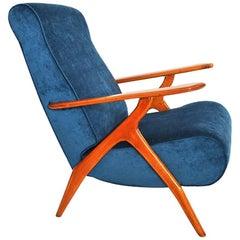 Antonio Gorgone Style Reclining Armchair Beechwood Velvet Reupholstered, 1950s