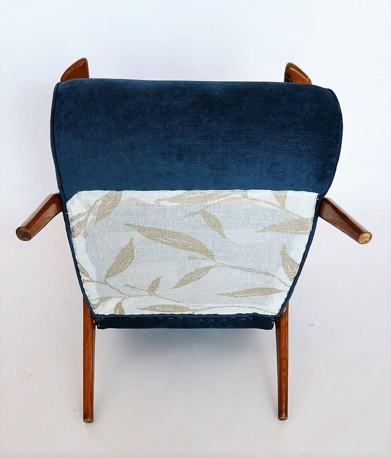 1950s Lounge Armchairs Re Upholstered In Multicolored: Antonio Gorgone Style Reclining Armchair Beechwood Velvet