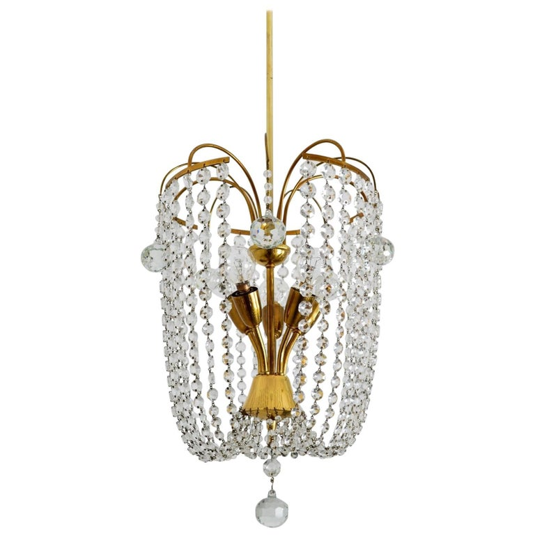 Italian Mid-Century Brass and Crystal Glass Chandelier, 1950s