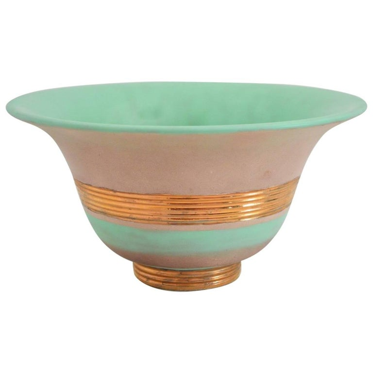 Art Deco Hand-Painted and Gilt Ceramic Bowl Gio Ponti for Richard Ginori, 1930s