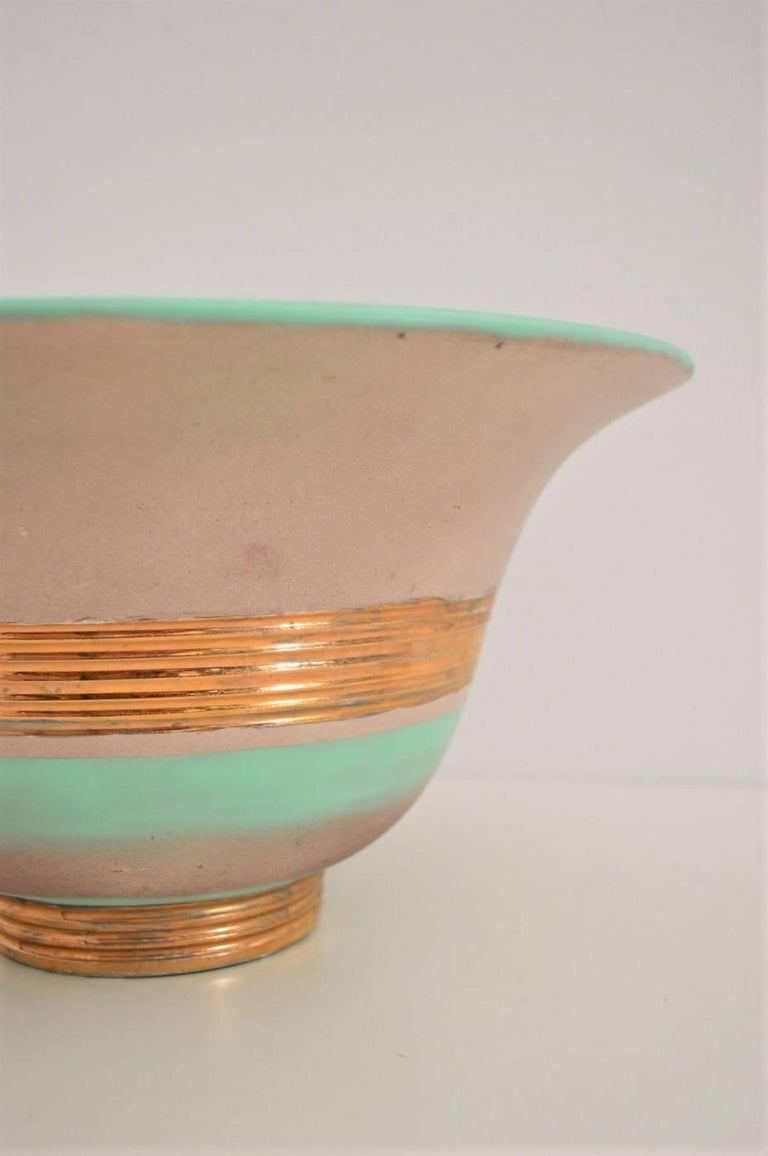 Mid-20th Century Art Deco Hand-Painted and Gilt Ceramic Bowl Gio Ponti for Richard Ginori, 1930s For Sale