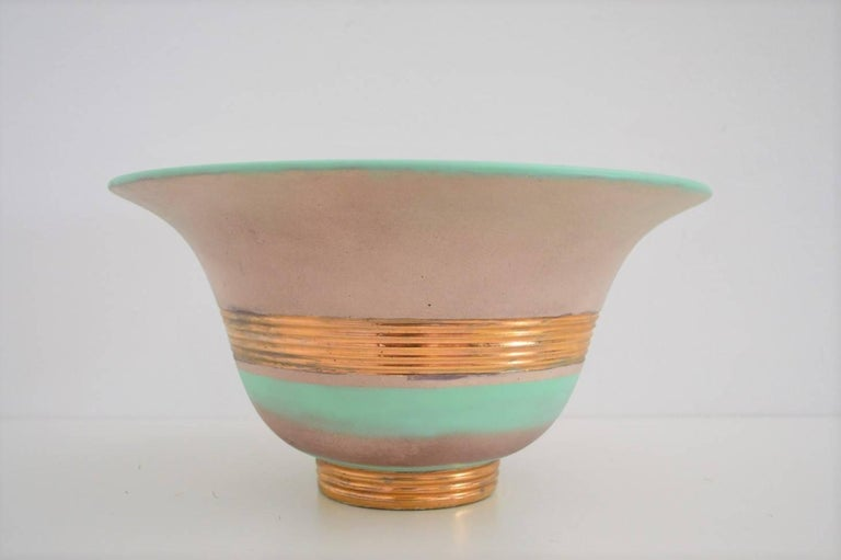 Art Deco Hand-Painted and Gilt Ceramic Bowl Gio Ponti for Richard Ginori, 1930s For Sale 2