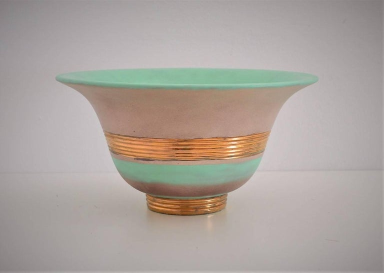 Art Deco Hand-Painted and Gilt Ceramic Bowl Gio Ponti for Richard Ginori, 1930s For Sale 3