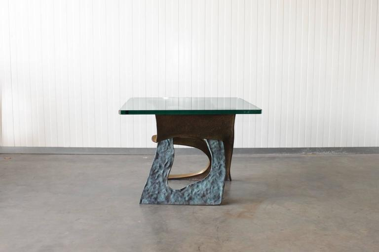 Brutalist Sculptural Bronze Side Table with Glass Top 4