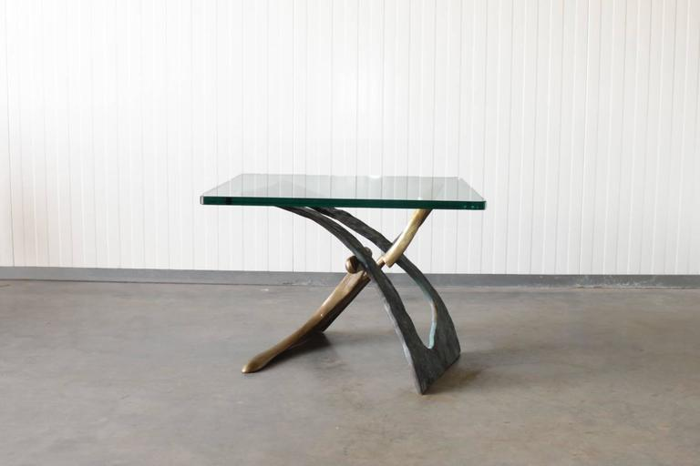 Brutalist Sculptural Bronze Side Table with Glass Top 2