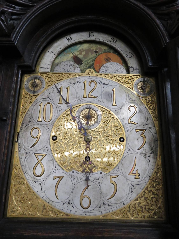 Elliott Of London Nine Tube Figural Carved Tall Case Clock