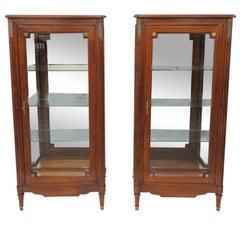 Pair of Brigitte Forestier Directoire Style Beveled Glass Corner Cabinets