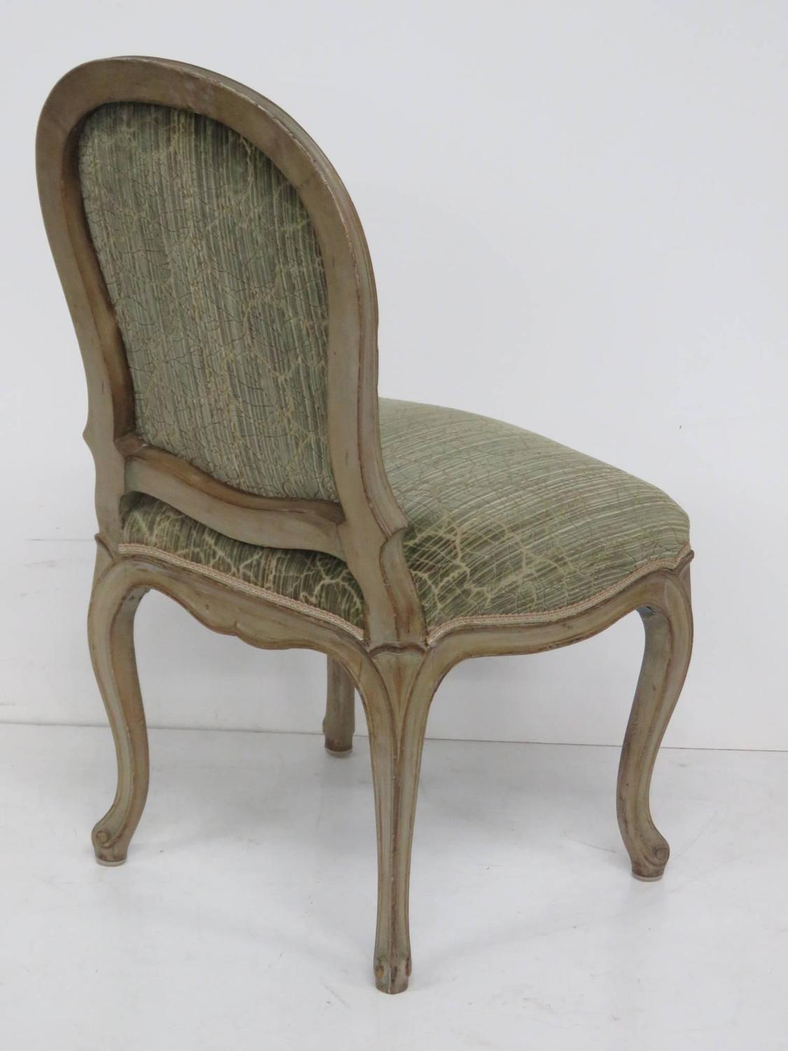 Six swedish style louis xv style distressed painted dining for Swedish style dining chairs