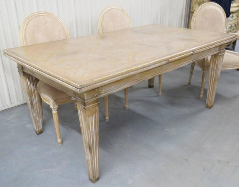 Guido Zichele Distressed Cream Painted Dining Table And Six Chairs For Sale A