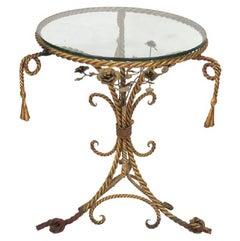 Italian Gilt Iron Rope and Tassel Center Table