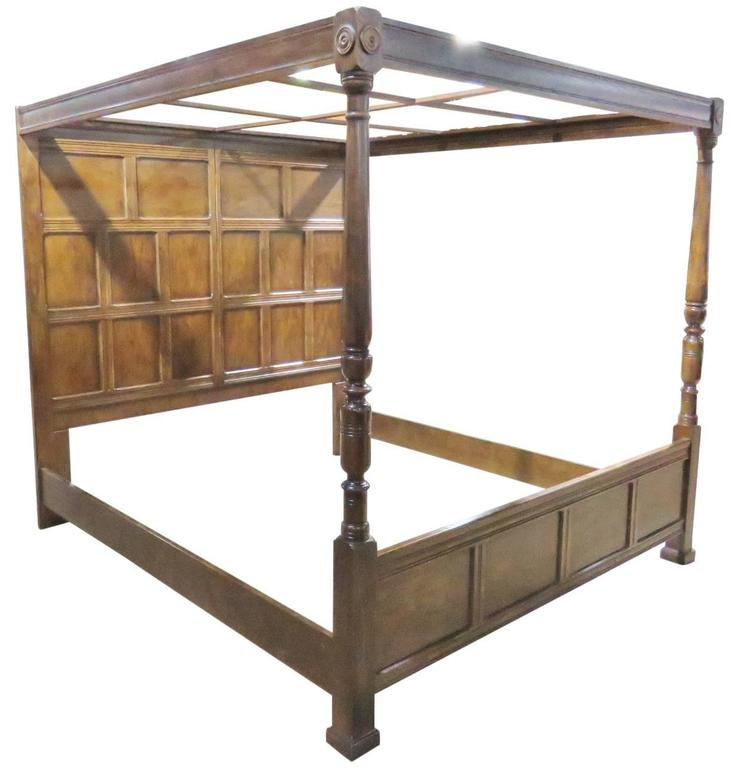 Henredon Heritage Walnut Canopy Bed For Sale