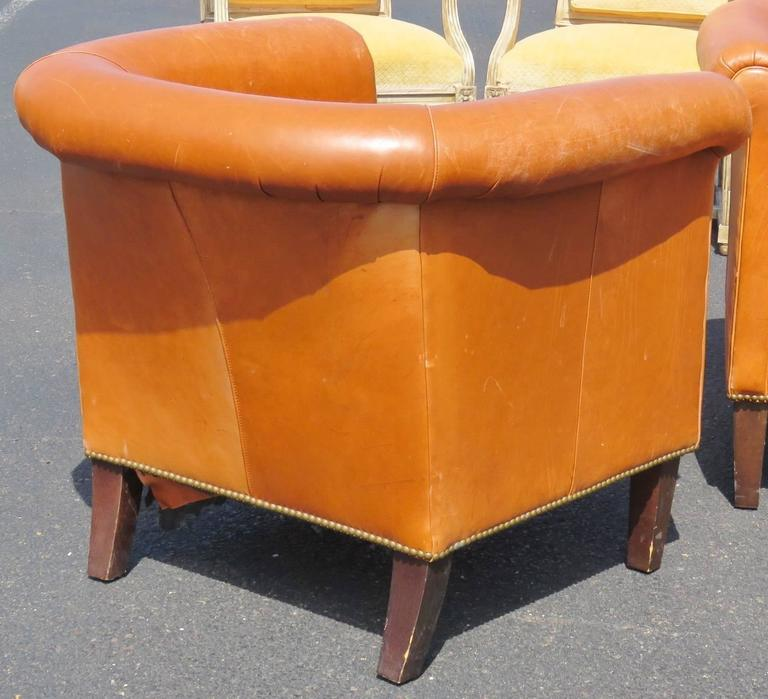 Pair of bernhardt brown leather club chairs for sale at for Bernhardt furniture for sale