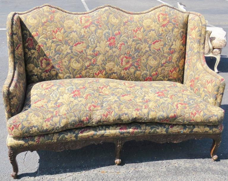 20th Century Louis XVI Style Carved Walnut Tapestry Upholstered Sofa For Sale