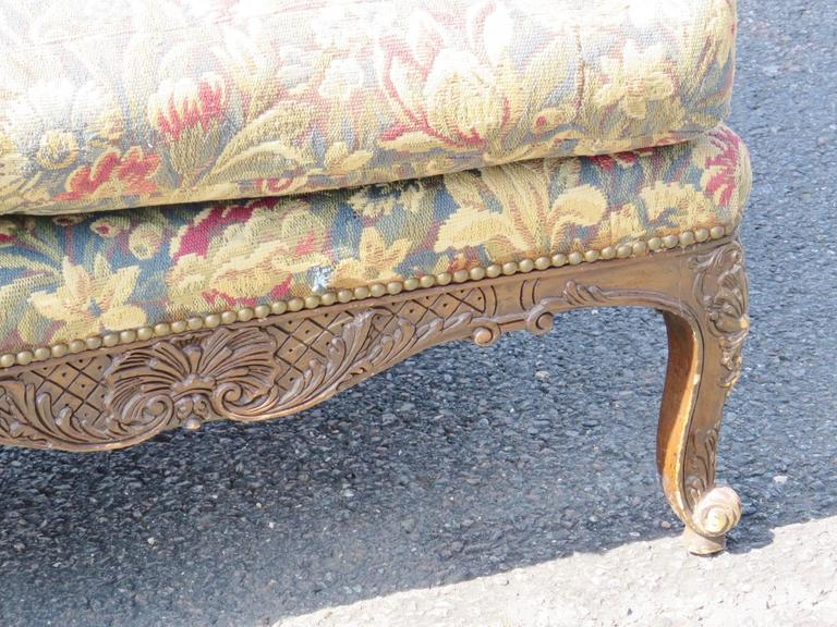 Louis XVI Style Carved Walnut Tapestry Upholstered Sofa For Sale 2