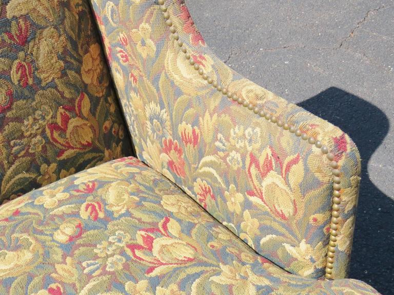Louis XVI Style Carved Walnut Tapestry Upholstered Sofa For Sale 1