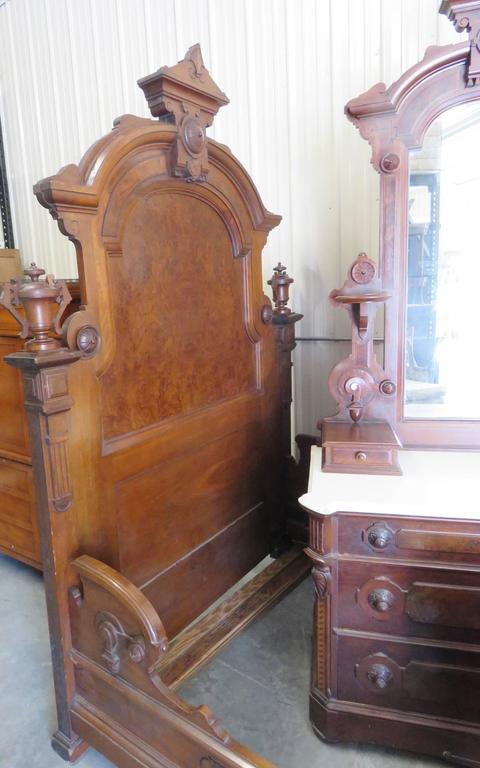 Three piece victorian walnut marble top bedroom set mann thomas brooks for sale at 1stdibs for Victorian bedroom furniture for sale