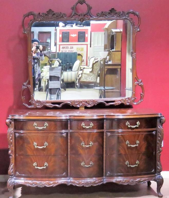 Six Pieces Louis Xv Style Mahogany Bedroom Set For Sale At