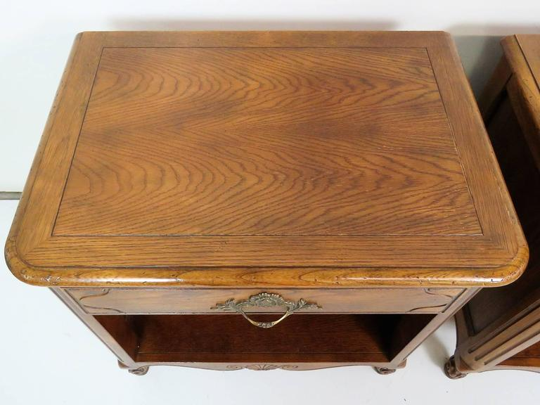 20th Century Pair of Baker Country French Walnut Nightstands