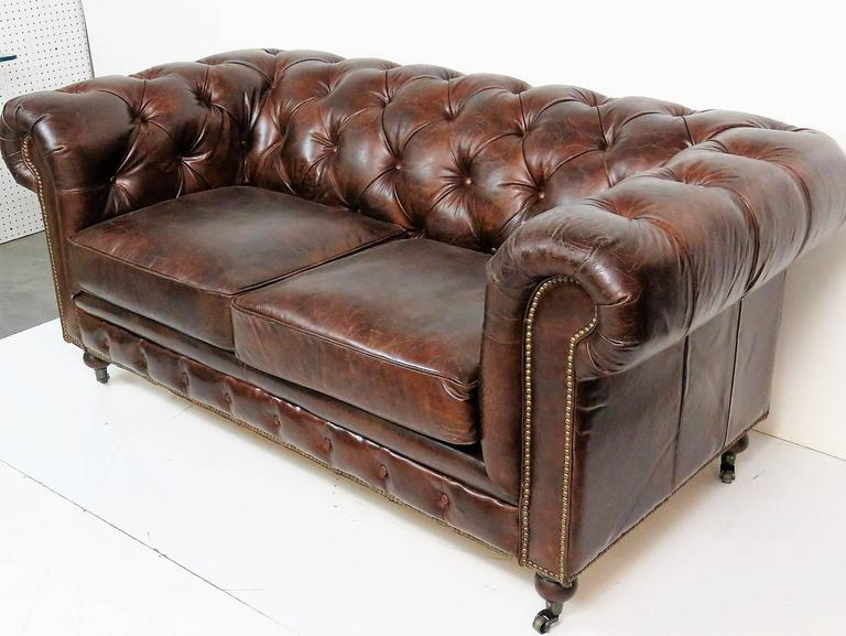 Georgian Style Brown Leather Tufted Chesterfield Sofa For Sale at 1stdibs