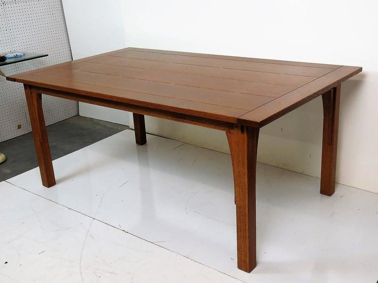 stickley oak slatted top dining table for sale at 1stdibs