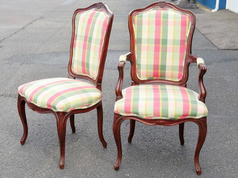Eight Country French Style Carved Walnut Dining Chairs For Sale At 1stdibs
