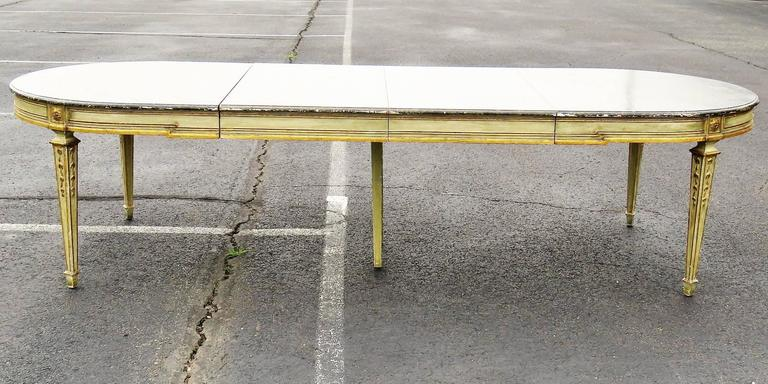 Jansen louis xv style distressed painted dining table for sale at 1stdibs - Painted dining tables distressed ...