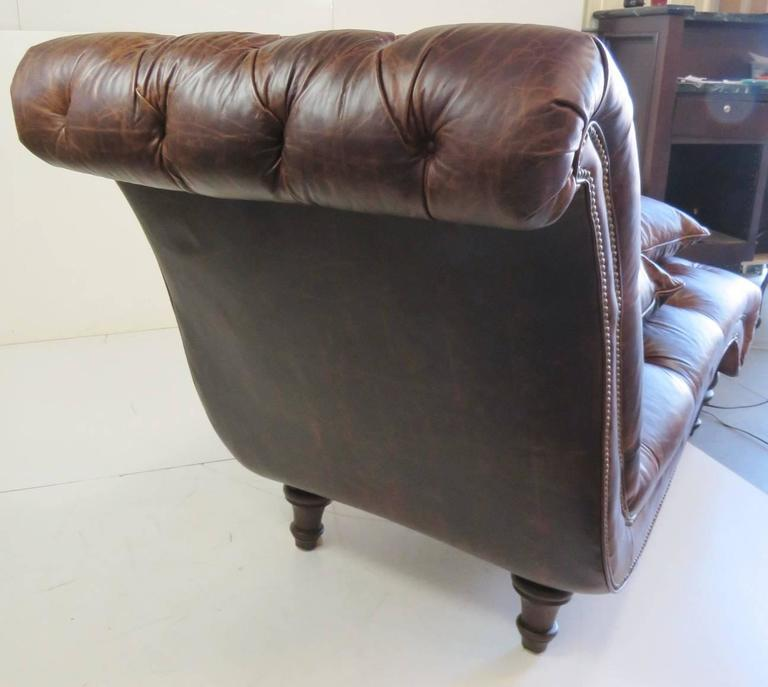 Brown leather tufted chaise lounge for sale at 1stdibs for Brown chaise longue