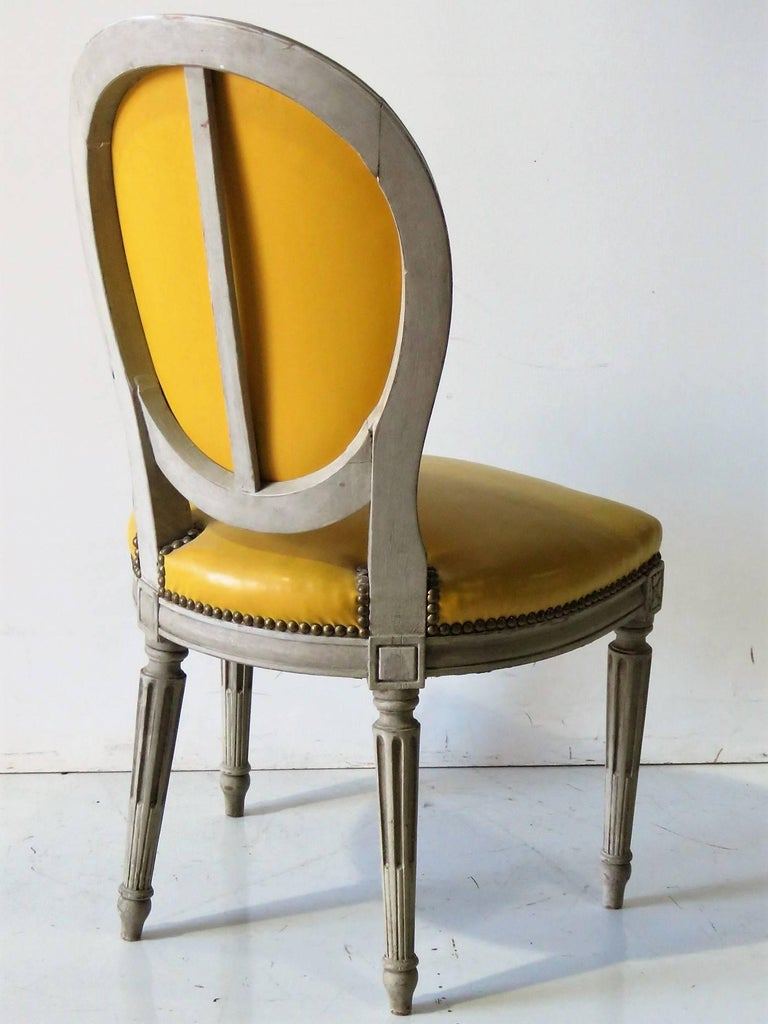 Six Jansen Style Distressed Painted Dining Chairs For Sale  : 16187master from www.1stdibs.com size 768 x 1024 jpeg 85kB