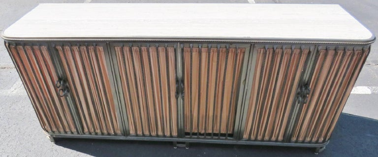 Rare And Unusual Stainless Steel Marble Top Credenza