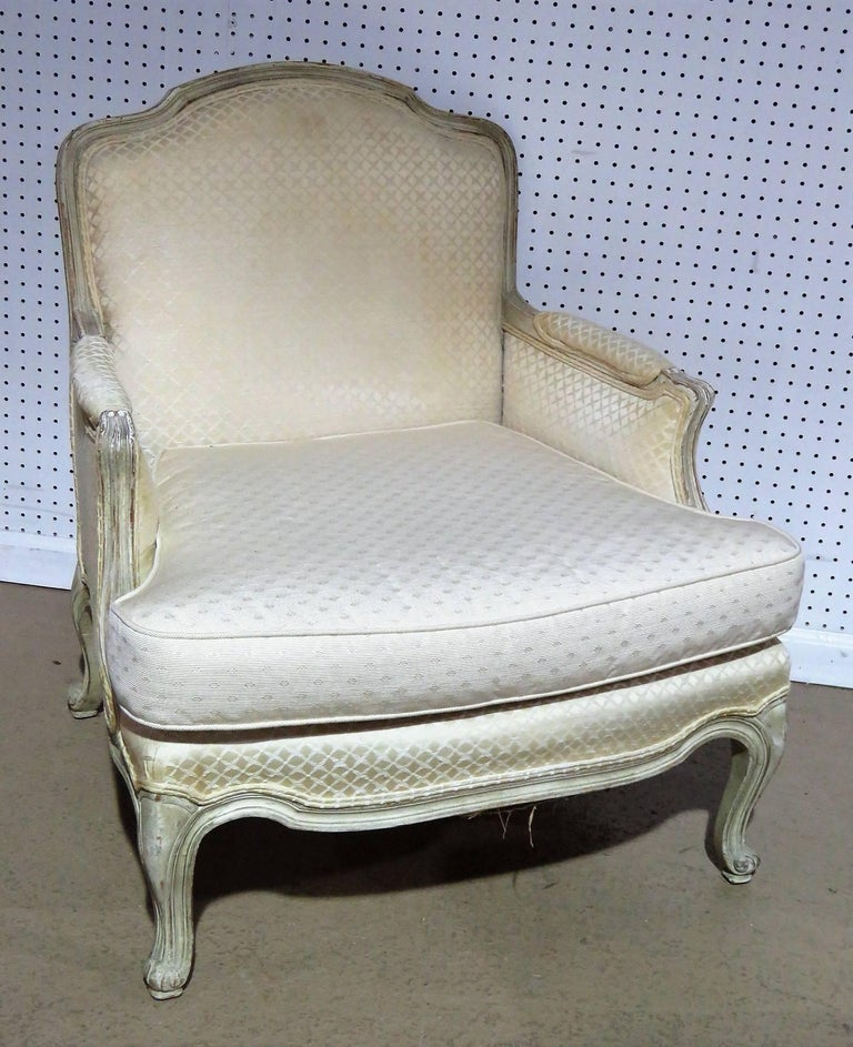 Two piece louis xvi style distressed cream painted chaise for Chaise louis xvi