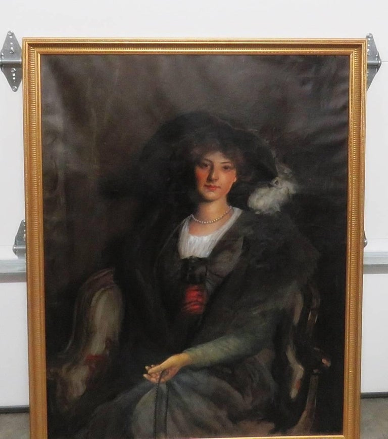 Antique Oil Painting of a Woman In Good Condition For Sale In Swedesboro, NJ