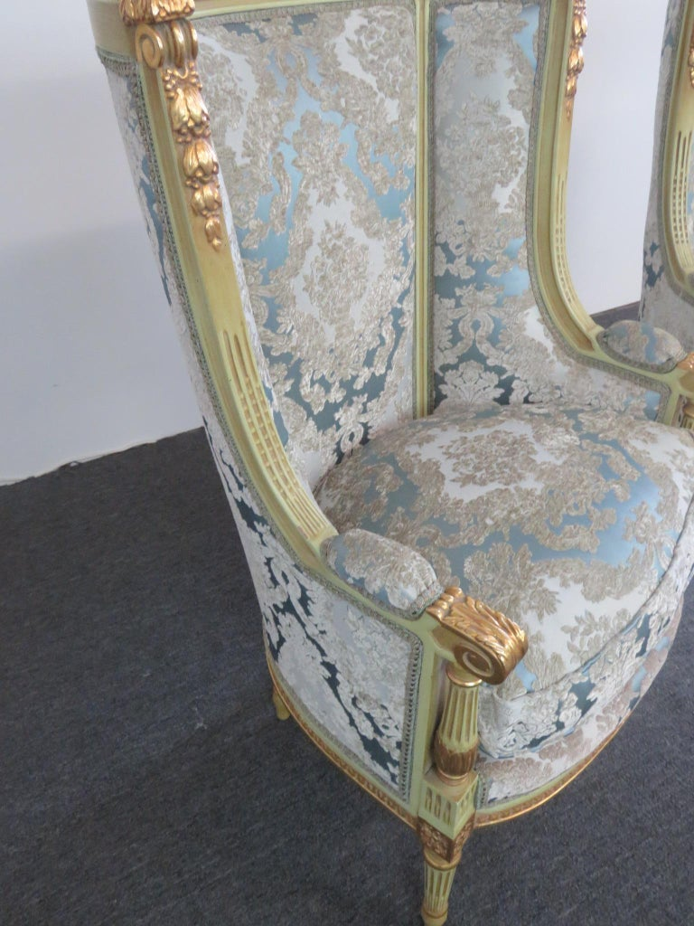Upholstery Pair of Louis XVI Style Paint Decorated Wing Back Chairs For Sale