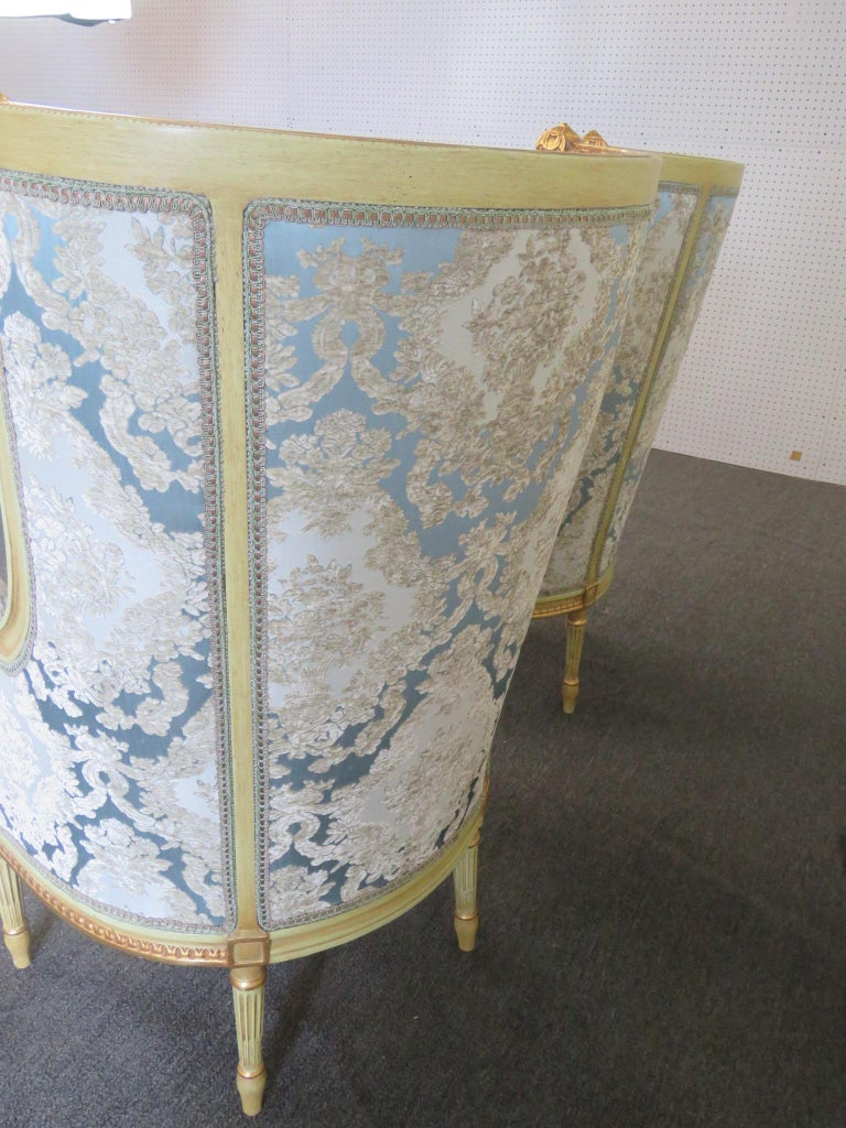 Pair of Louis XVI Style Paint Decorated Wing Back Chairs In Good Condition For Sale In Swedesboro, NJ