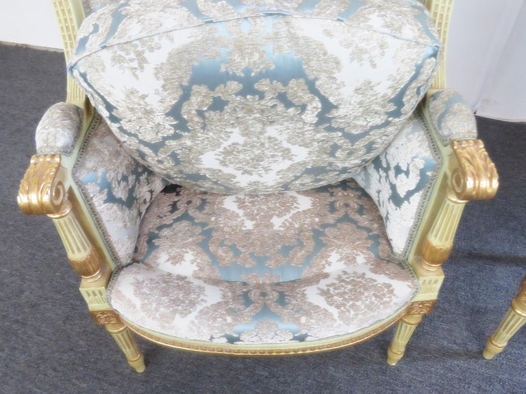 Regency Pair of Louis XVI Style Paint Decorated Wing Back Chairs For Sale