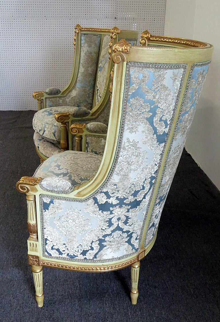 American Pair of Louis XVI Style Paint Decorated Wing Back Chairs For Sale