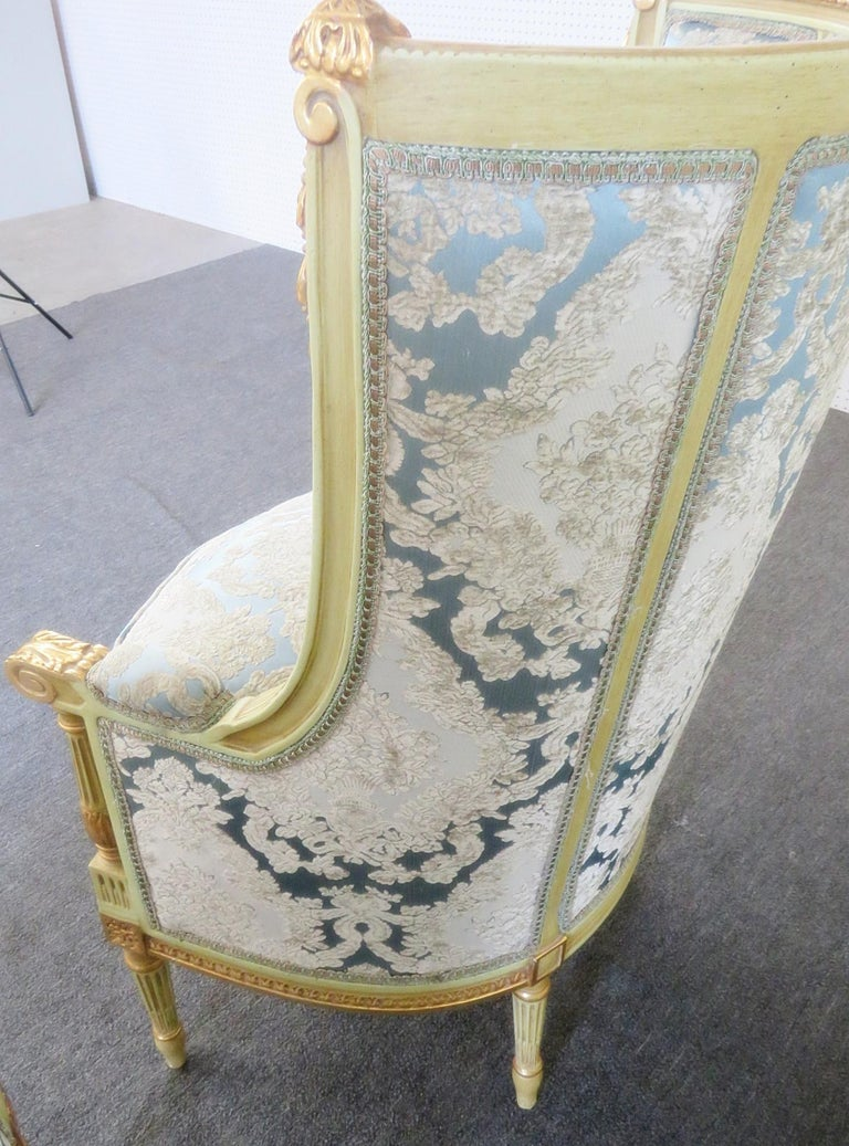 20th Century Pair of Louis XVI Style Paint Decorated Wing Back Chairs For Sale