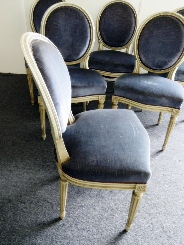 French Set of 6 Louis XVI Style Dining Chairs For Sale