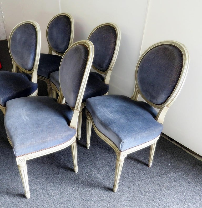 Painted Set of 6 Louis XVI Style Dining Chairs For Sale