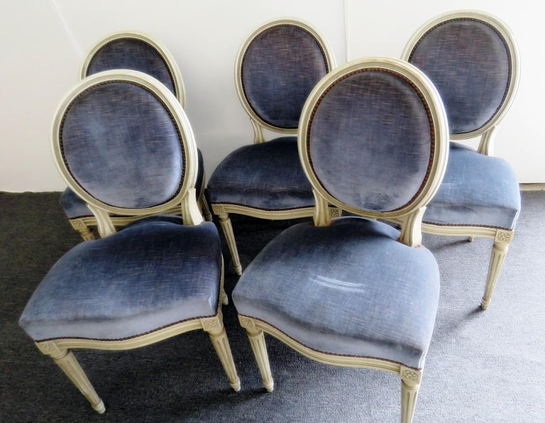 Set of 6 Louis XVI Style Dining Chairs In Good Condition For Sale In Swedesboro, NJ