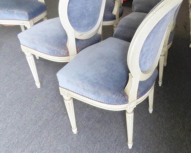 Metal Set of 6 Louis XVI Style Dining Chairs For Sale