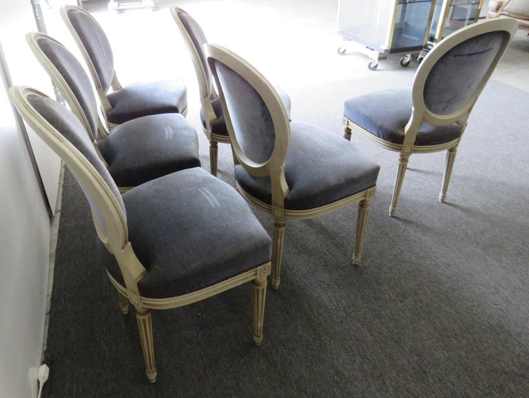 Set of 6 Louis XVI Style Dining Chairs For Sale 1
