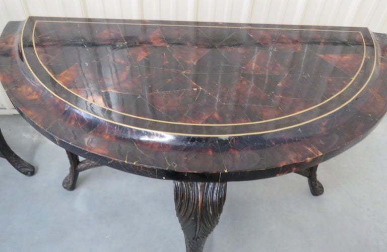 Pair of Regency Style Tessellated Top Demilune Console Tables In Good Condition For Sale In Swedesboro, NJ