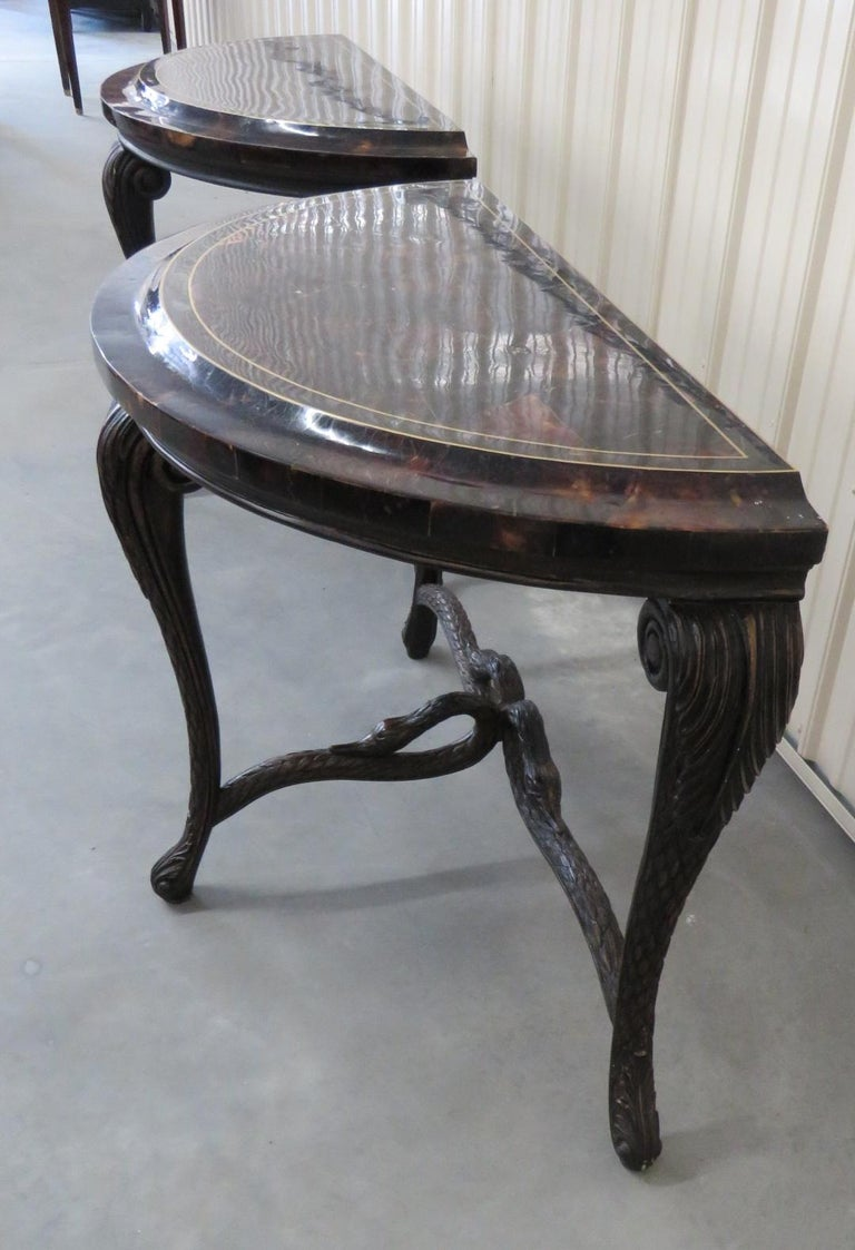 Pair of Regency Style Tessellated Top Demilune Console Tables For Sale 2