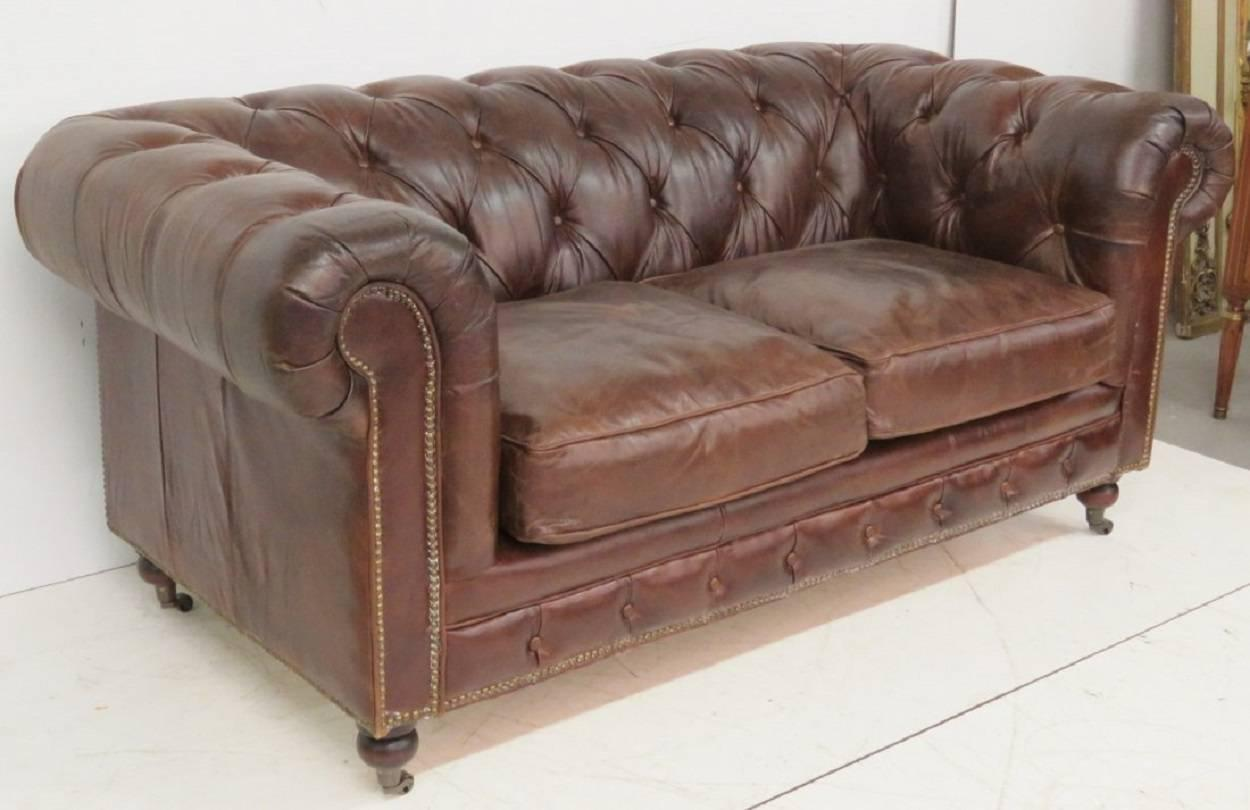 leather tufted sofa sale brown tufted leather chesterfield sofa for at 1stdibs 6896