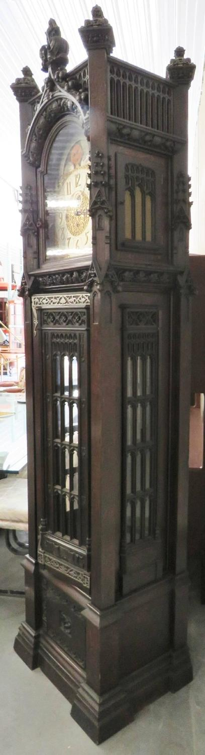 Gothic Style Carved Grandfather S Clock For Sale At 1stdibs