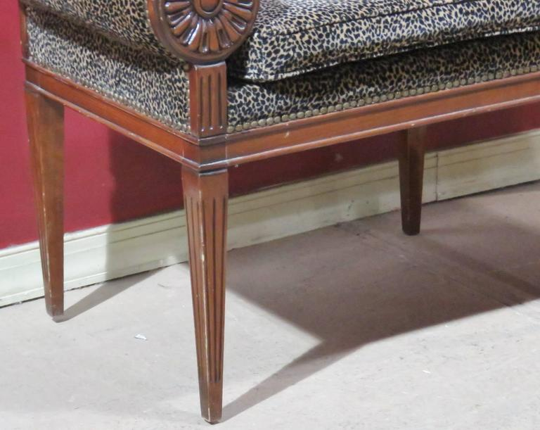 Regency Style Tufted Leopard Upholstered Bench For Sale At 1stdibs