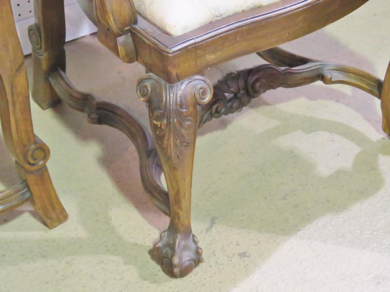 Hand-Carved Set Eight Italian Walnut Carved Chippendale Style Dining Chairs For Sale