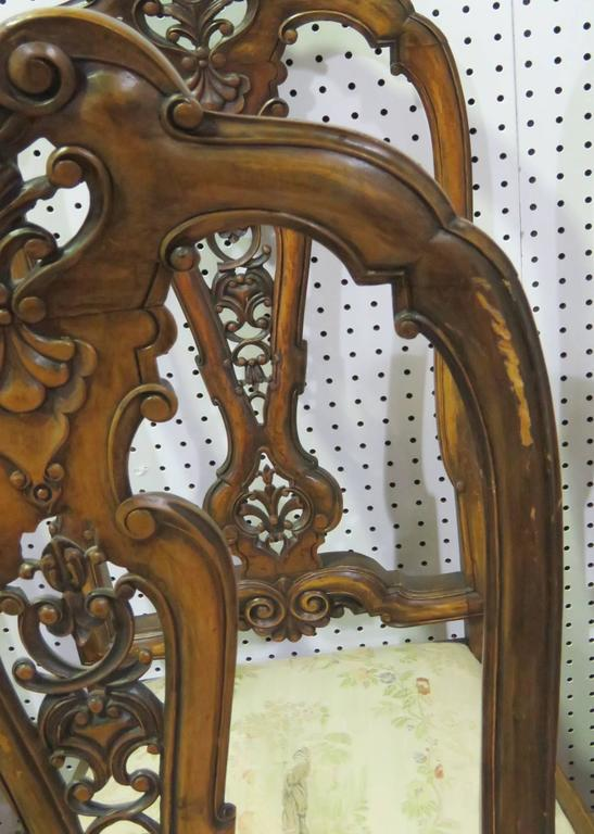 Set Eight Italian Walnut Carved Chippendale Style Dining Chairs For Sale 2